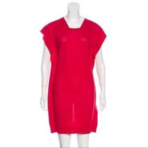BALENCIAGA Knits Red Flutter Sleeve Dress 36 6 S